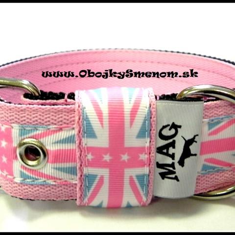 """CE4. Obojok """"U.K."""" s ružovou stuhou, s ružovým popruhom"""